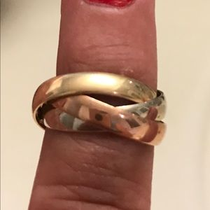 Tri-color 14k gold ring